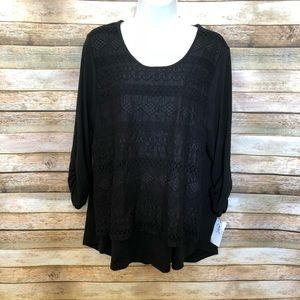 NY Collection Black Lace Top NWT